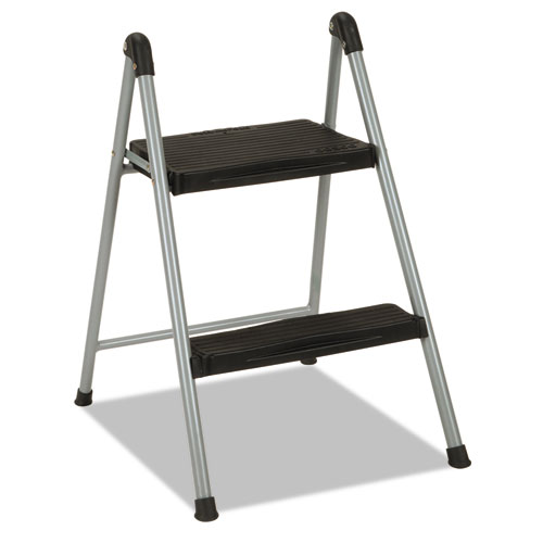 "Cosco® Folding Step Stool, 1-Step, 200 lb Capacity, 9.9"" Working Height, Platinum/Black"