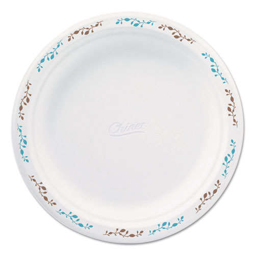 "Molded Fiber Dinnerware, Plate, 8 3/4""Dia, White, Vines Theme, 500/Carton 