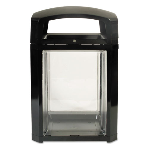 Rubbermaid® Commercial Landmark Series Security Container, 50 gal, Black/Clear, 26 x 26 x 46 1/2