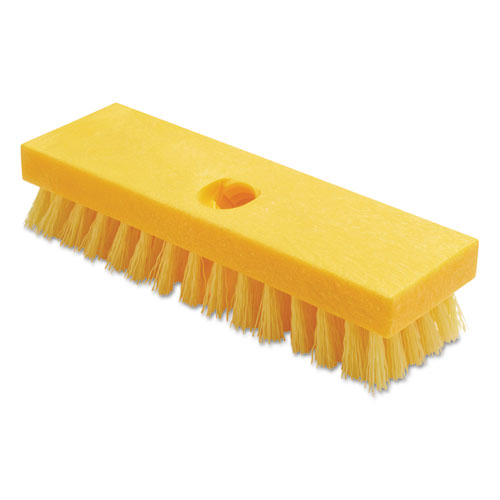 Deck Brush, Polypropylene Palmyra Fibers, 9 Plastic Block, Yellow