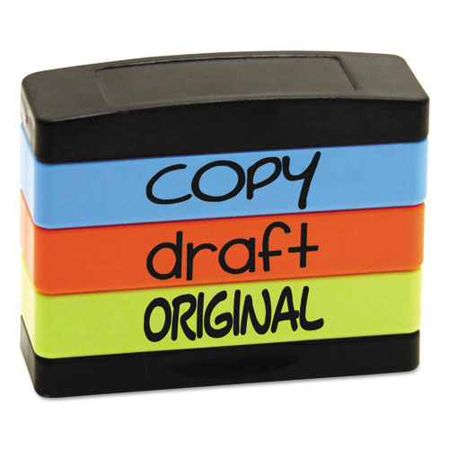 Stack Stamp, COPY, DRAFT, ORIGINAL, 1 13/16 x 5/8, Assorted Fluorescent Ink | by Plexsupply
