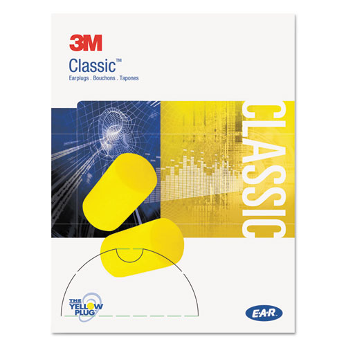 3M™ E·A·R Classic Small Earplugs in Pillow Paks, PVC Foam, Yellow, 200 Pairs