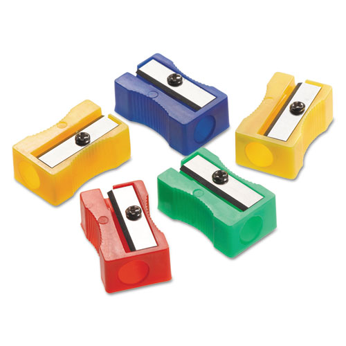 Manual Pencil Sharpeners, Red/Blue/Green/Yellow, 4w x 2d x 1h, 24/Pack | by Plexsupply
