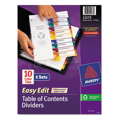 Ready Index Customizable Table Of Contents Asst Dividers 10 Tab