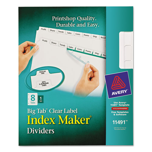 Ave11491 avery index maker print apply clear label for Avery easy apply 5 tab template