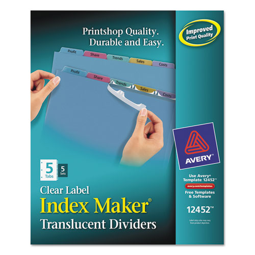 Ave12452 avery index maker print apply clear label for Avery easy apply 5 tab template