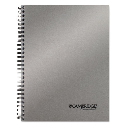 Cambridge® Side Bound Guided Business Notebook, 7 1/2 x 9 1/2, Metallic Silver, 80 Sheets
