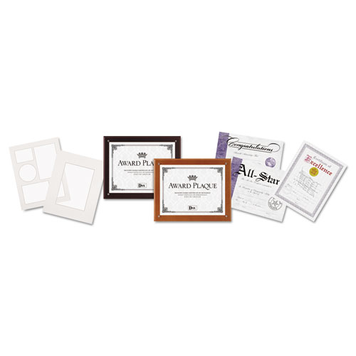 Plaque-In-An-Instant Kit w/Certs & Mats, Wood/Acrylic Up to 8 1/2 x 11, Mahogany | by Plexsupply