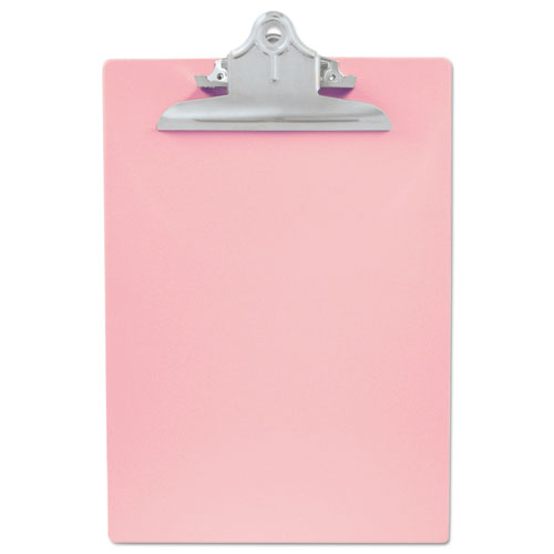 "Recycled Plastic Clipboard with Ruler Edge, 1"" Clip Cap, 8 1/2 x 12 Sheets, Pink 
