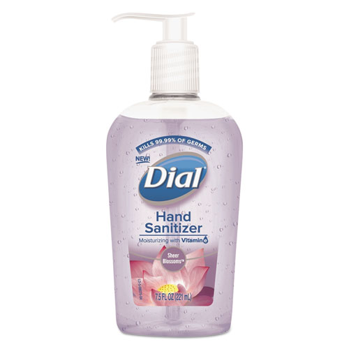Dial® Scented Antibacterial Hand Sanitizer, Sheer Blossoms, 7.5 oz Bottle, 12/Carton