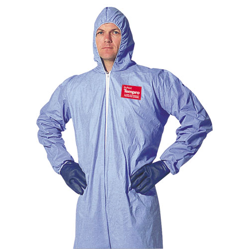 DuPont® Tempro Elastic-Cuff Hooded Coveralls, Blue, 3X-Large, 25/Carton DUPTM127S3XL