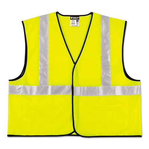 Class 2 Safety Vest, Lime Green w/Silver Stripe, Polyester, 4X-Large