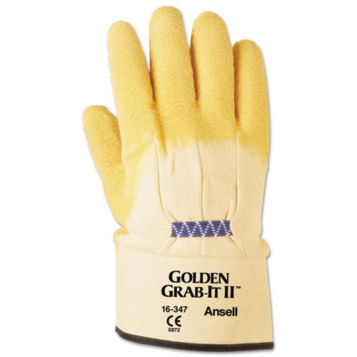 Golden Grab-It II Heavy-Duty Work Gloves, Size 10, Latex/Jersey, Yellow, 12 PR