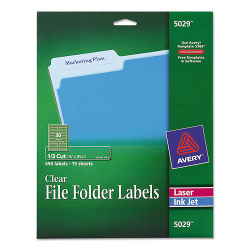 Clear File Folder Labels By Avery Ave5029 Ontimesupplies