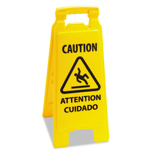 Caution Safety Sign For Wet Floors, 2-Sided, Plastic, 10 x 2 x 26, Yellow