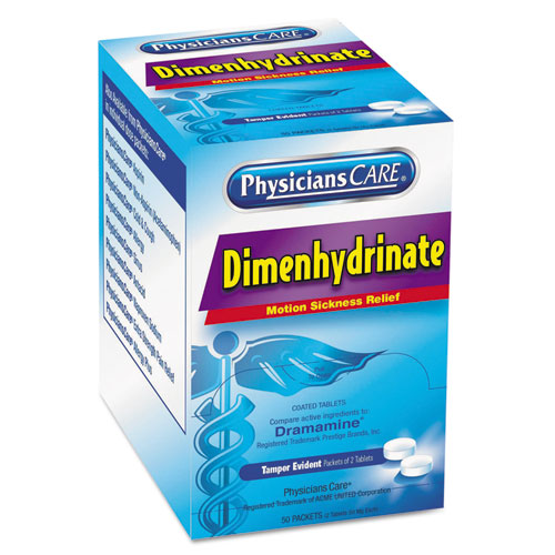 Dimenhydrinate (Motion Sickness) Tablets, 2/Pack, 50 Pack/Box