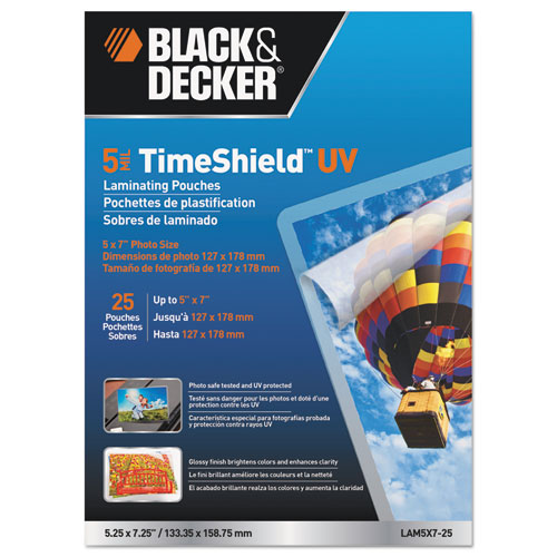 TimeShield Laminating Pouches, 5 mil, 5.25 x 7.25, Gloss Clear, 25/Pack