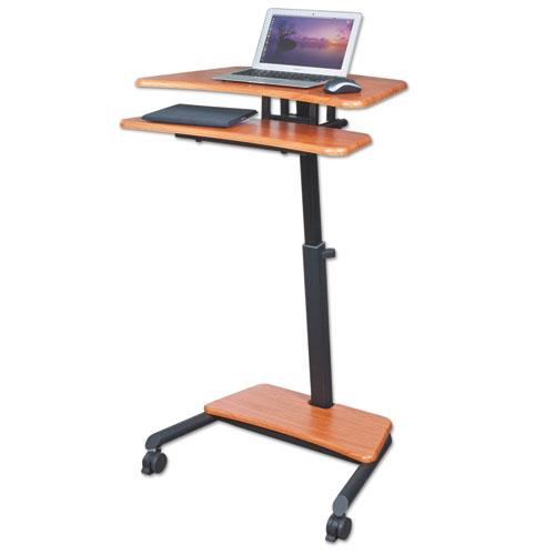 BALT® Up-Rite Mobile Standing Workstation, 27 1/2w x 22 1/2d x 45 1/2h, Cherry