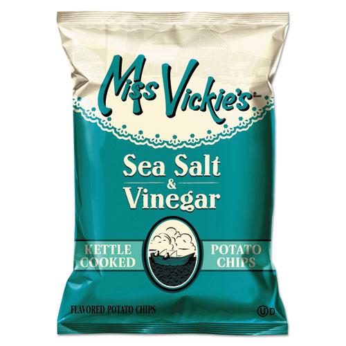 Miss Vickie's® Kettle Cooked Sea Salt and Vinegar Potato Chips, 1.38 oz Bag, 64/Carton