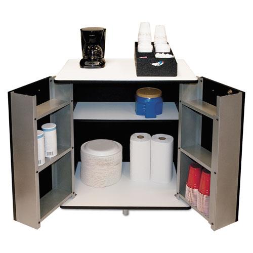 Refreshment Stand, Two-Shelf, 29.5w x 21d x 33h, Black/White