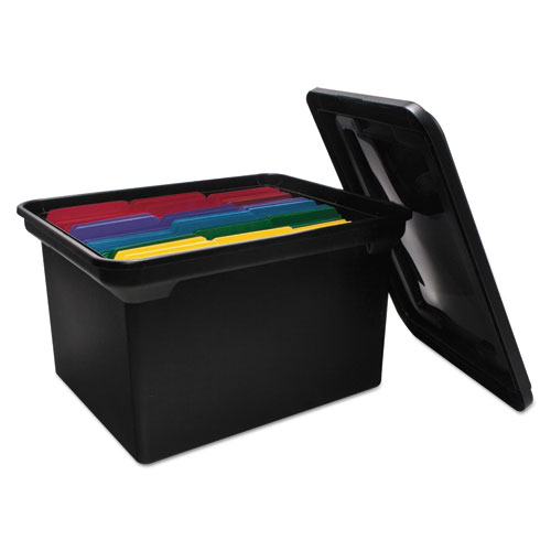 "File Tote with Lid, Letter/Legal Files, 14.13"" x 18"" x 10.75"", Black 