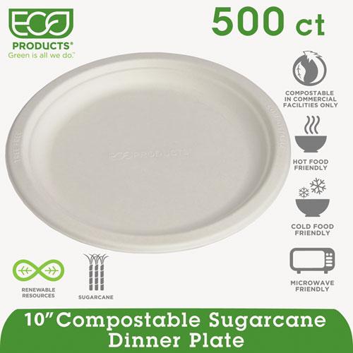 "Renewable & Compostable Sugarcane Plates - 10"", 500/CT | by Plexsupply"
