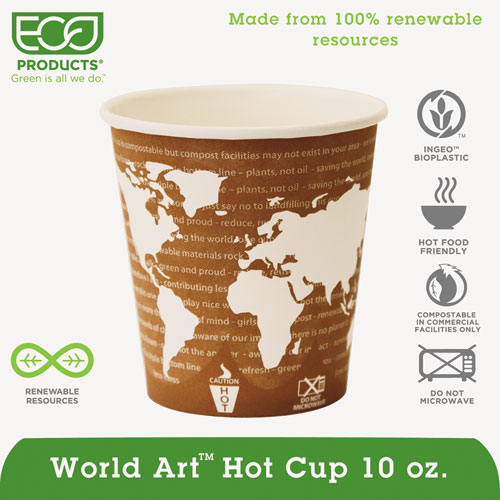 World Art Renewable & Compostable Hot Cups Convenience Pack - 10 oz., 50/PK EPBHC10WAPK