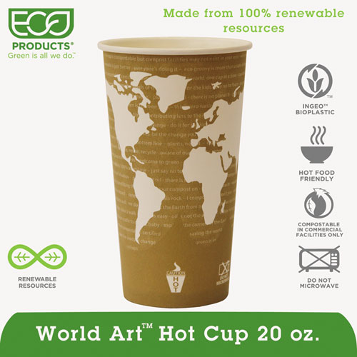 World Art Renewable & Compostable Hot Cups Convenience Pack - 20 oz., 50/PK EPBHC20WAPK