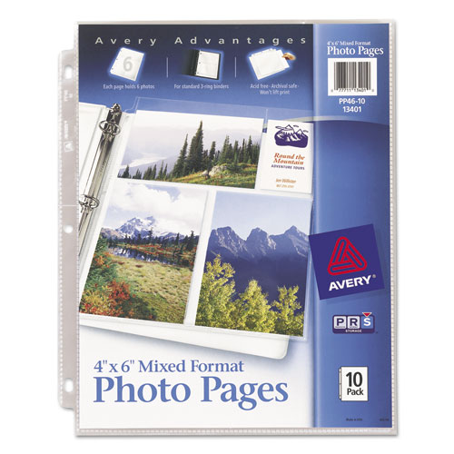 Photo Storage Pages for Six 4 x 6 Mixed Format Photos, 3-Hole Punched, 10/Pack | by Plexsupply