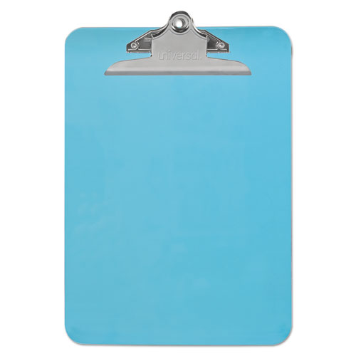 Plastic Clipboard w/High Capacity Clip, 1, Holds 8 1/2 x 12, Translucent Blue