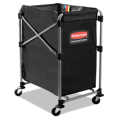 Rubbermaid® Commercial Collapsible X-Cart, Steel, Four Bushel Cart, 20 1/3w x 24 1/10d, Black/Silver RCP1881749