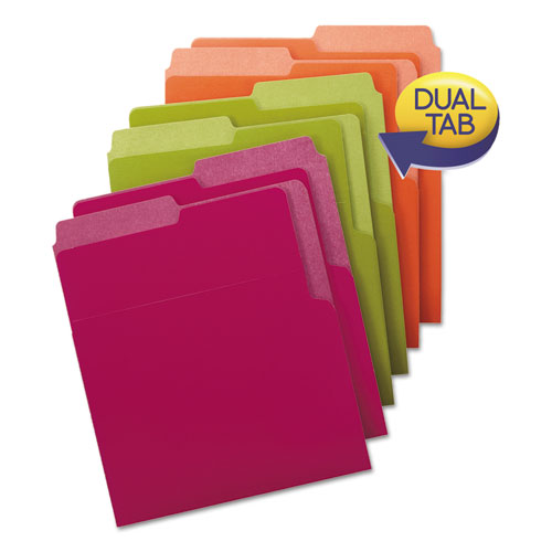 Organized Up Heavyweight Vertical File Folders, 1/2-Cut Tabs, Letter Size, Assorted, 6/Pack | by Plexsupply