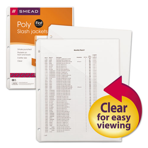 Organized Up Poly Slash Jackets, 2-Sections, Letter Size, Clear, 5/Pack | by Plexsupply