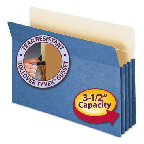 "Colored File Pockets, 3.5"" Expansion, Legal Size, Blue 