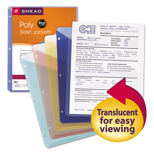 Organized Up Poly Slash Jackets, 2-Sections, Letter Size, Assorted Colors, 5/Pack | by Plexsupply