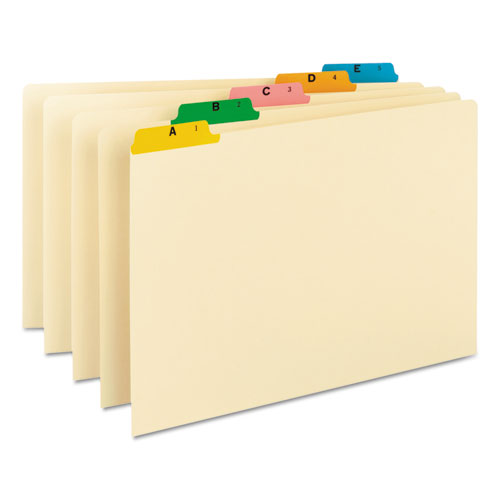 Recycled Top Tab File Guides, Alpha, 1/5 Tab, Manila/Color, Legal, 25/Set | by Plexsupply