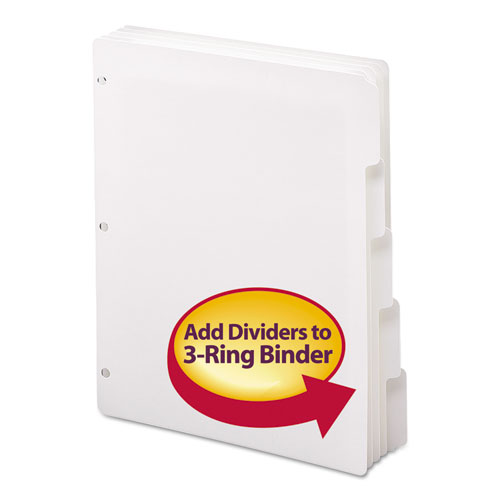 Three-Ring Binder Index Divider, 5-Tab, 11 x 8.5, White, 1 Set