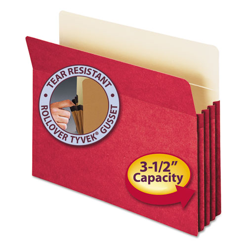 """Colored File Pockets, 3.5"""" Expansion, Letter Size, Red 