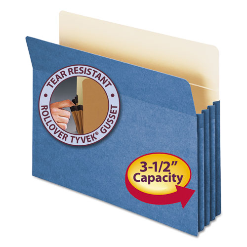 "Colored File Pockets, 3.5"" Expansion, Letter Size, Blue 