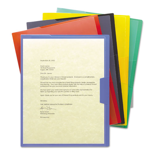 Organized Up Poly Opaque Project Jackets, Letter Size, Assorted Colors, 5/Pack | by Plexsupply