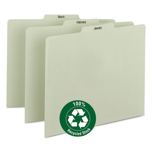 Recycled Top Tab File Guides, Monthly, 1/3 Tab, Pressboard, Letter, 12/Set | by Plexsupply