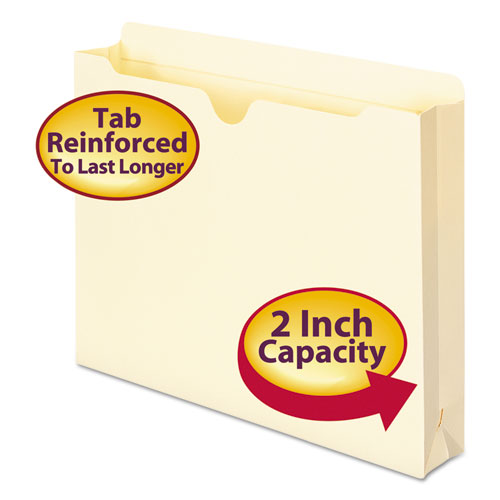 Manila File Jackets, 2-Ply Straight Tab, Letter Size, Manila, 50/Box | by Plexsupply