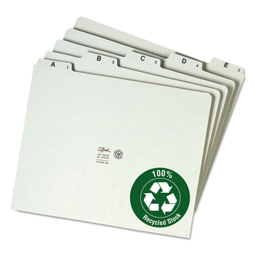 Recycled Top Tab File Guides, Alpha, 1/5 Tab, Pressboard, Letter, 25/Set | by Plexsupply