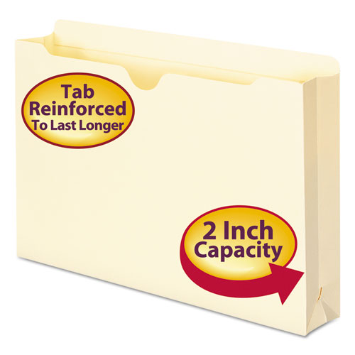 Manila File Jackets, 2-Ply Straight Tab, Legal Size, Manila, 50/Box | by Plexsupply