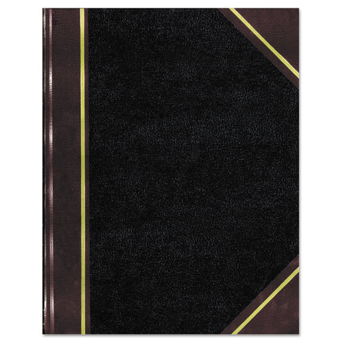 Texthide Notebook, Black/Burgundy, 500 Pages, 14 1/4 x 8 3/4 | by Plexsupply