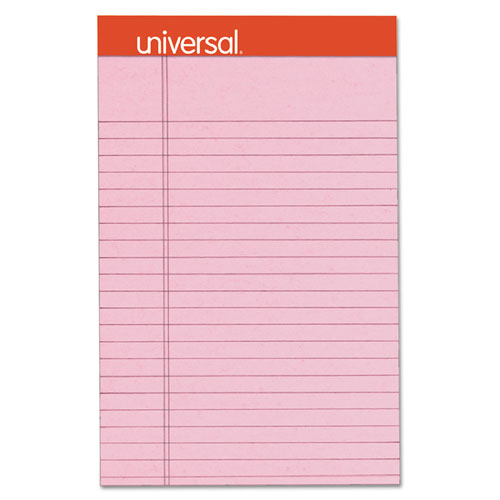 Universal® Fashion Colored Perforated Note Pads, 5 x 8, Legal, Pink, 50 Sheets, 6/Pack