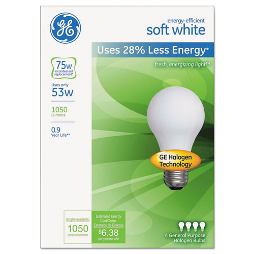 Energy-Efficient A19 Halogen Bulb, Soft White 53 W, 4/Pack