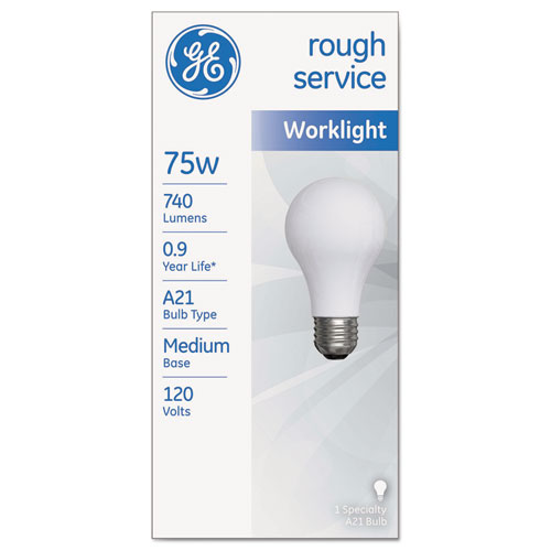 Rough Service Incandescent Worklight Bulb, A21, 75 W, 750 lm