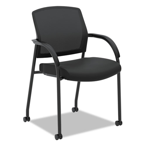 "Lota Series Guest Side Chair, 23"" x 24.75"" x 34.5"", Black Seat/Black Back, Black Base 