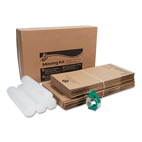 Moving Kit, 6 Medium Boxes, 6 Large Boxes, 4 Rolls of Bubble Wrap, 1 Roll HD Clear Packing Tape